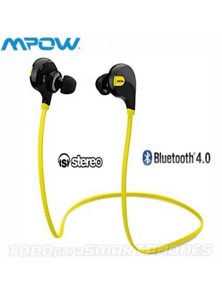 Manos Libres MPOW Swift Bluetooth Stereo Universal Sport Neg Amarillo
