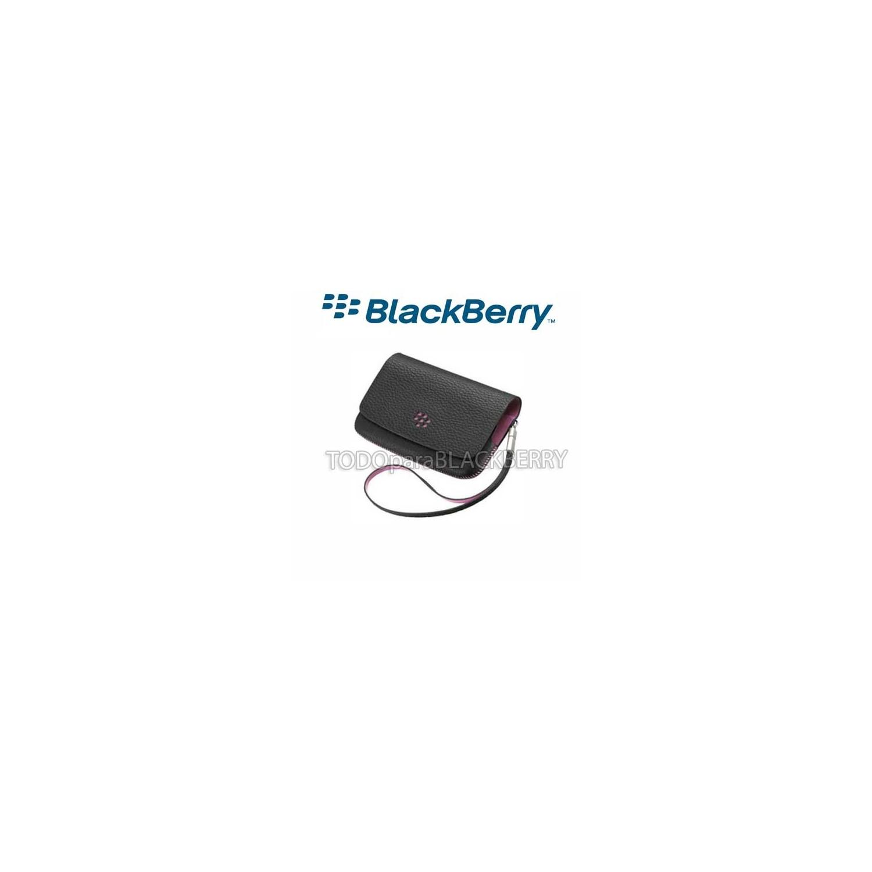 Funda Blackberry Horizontal con correa y espejo Negro - Rosa