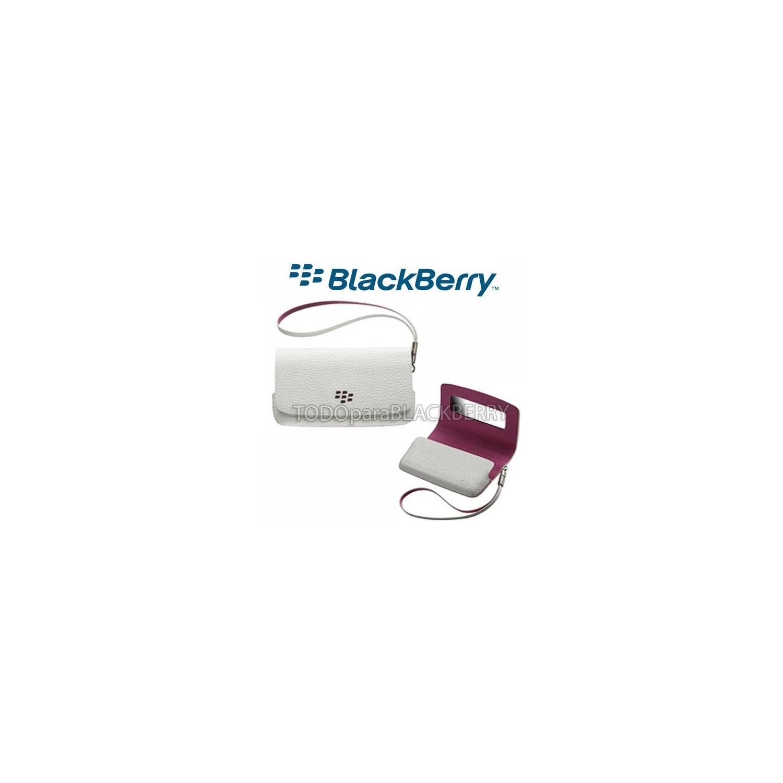 Funda Blackberry Horizontal con correa y espejo Blanco con Rosa