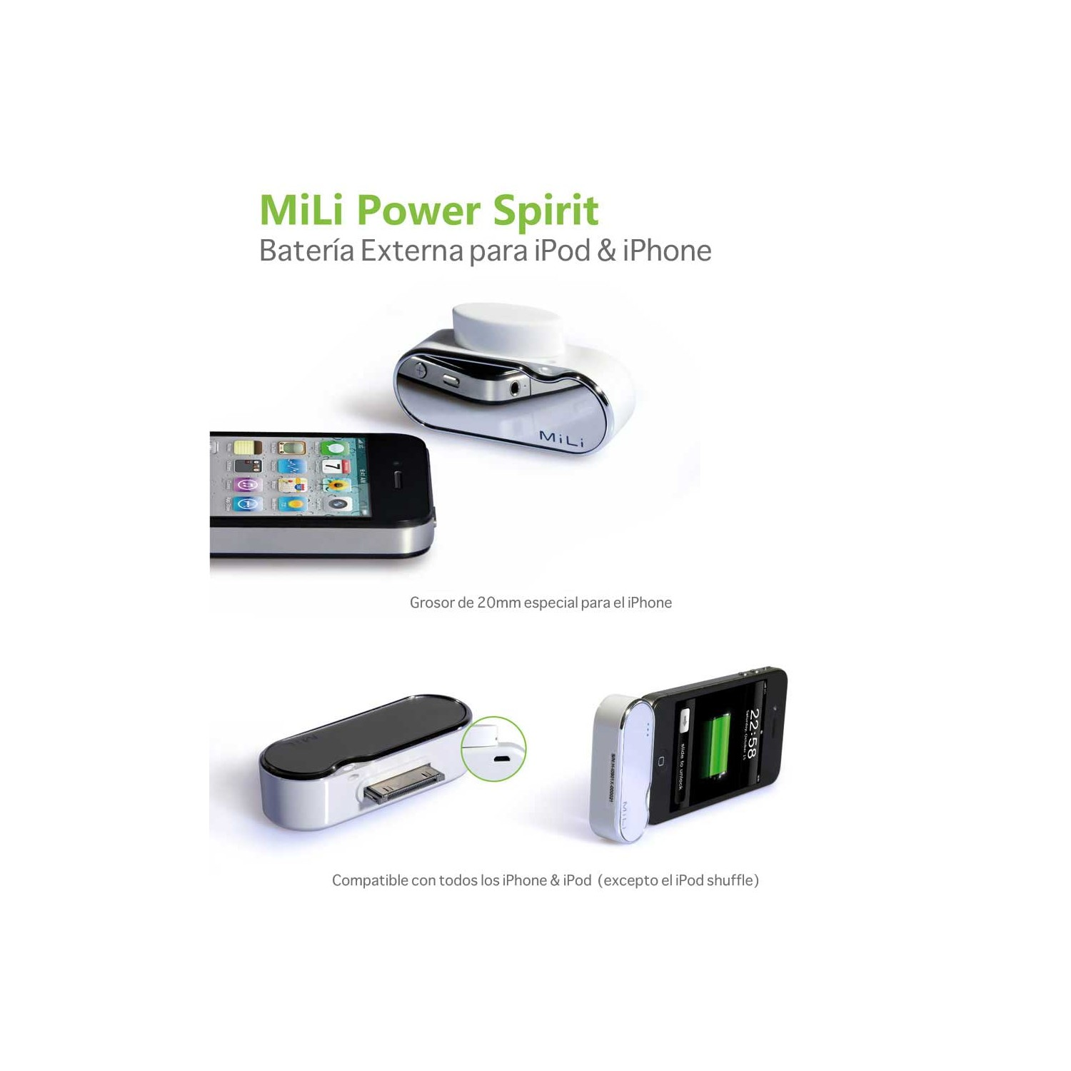 Bateria Auxiliar de Emergencia para iPod iPhone Mili Power Spirit