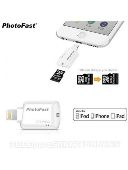 Lector Memoria PHOTOFAST iOS Lightning Micro SD certificado Apple MFI memoria para iPhone iPad iPod - Blanco