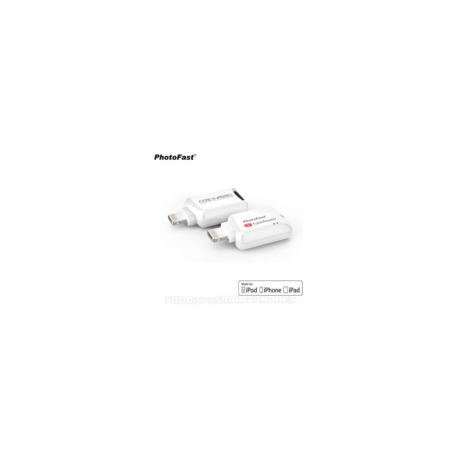 Lector Memoria PHOTOFAST TubeReader iOS Lightning Micro SD certificado Apple MFI memoria para iPhone iPad iPod - Blanco