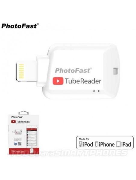 Lector Memoria PHOTOFAST TubeReader iOS Lightning Micro SD certificado Apple MFI memoria para iPhone iPad iPod - Blanco