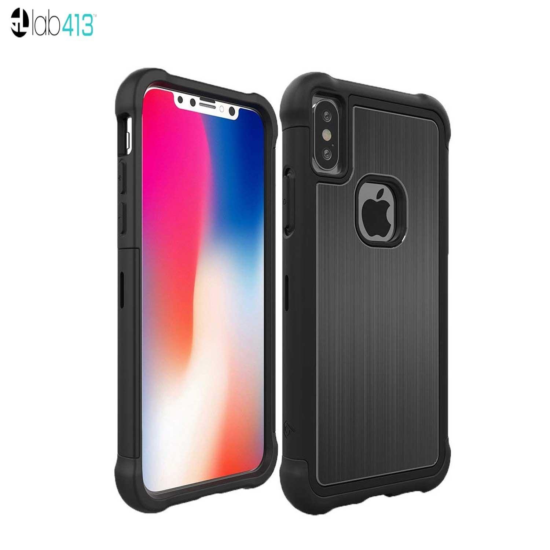 Funda LAB413 iPhone X Tungsten Negro/Negro protector uso rudo