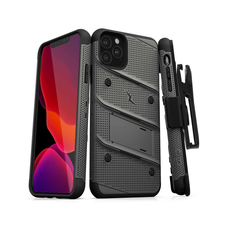 Funda ZIZO Bolt iPhone 11 PRO MAX Gris Negro con clip y mica de pantalla