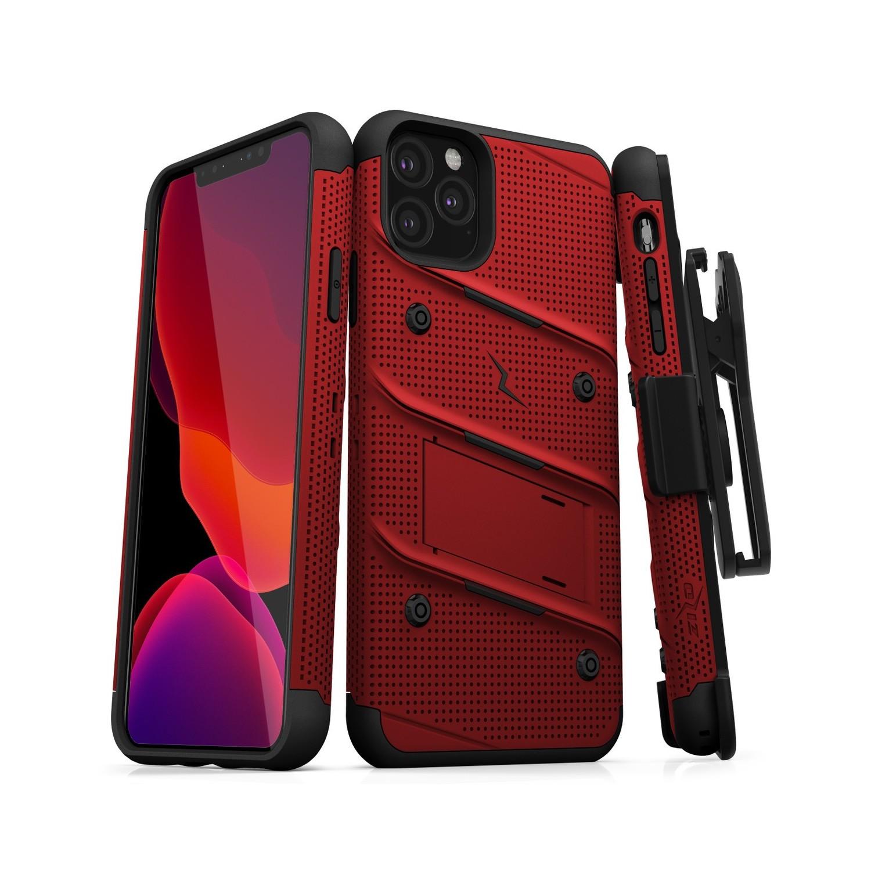 . Funda ZIZO Bolt compatible para iPhone 11 PRO MAX Rojo Negro con clip y mica de pantalla