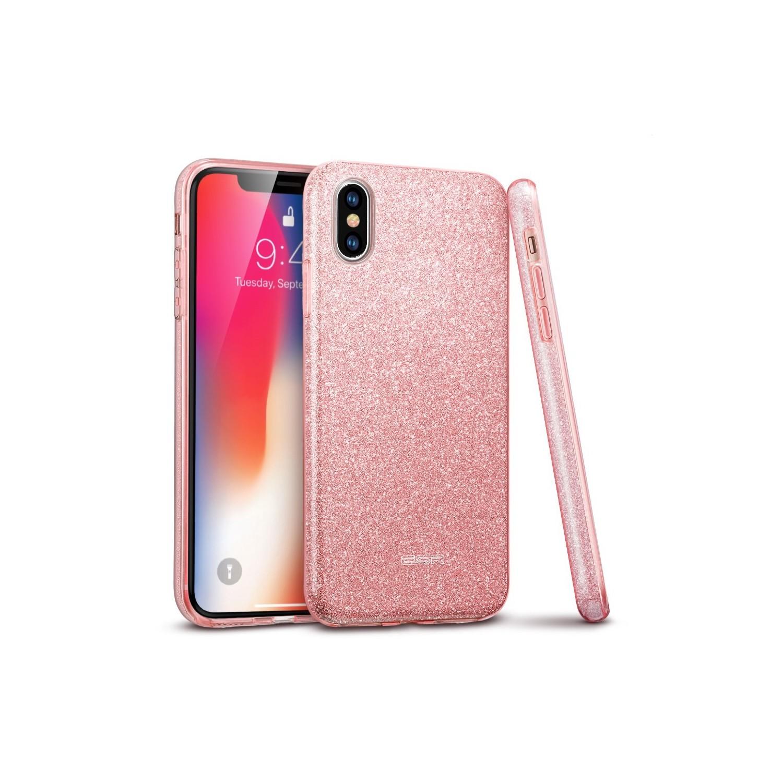 Case - ESR Makeup Glitter for iPhone Xs - Rose gold