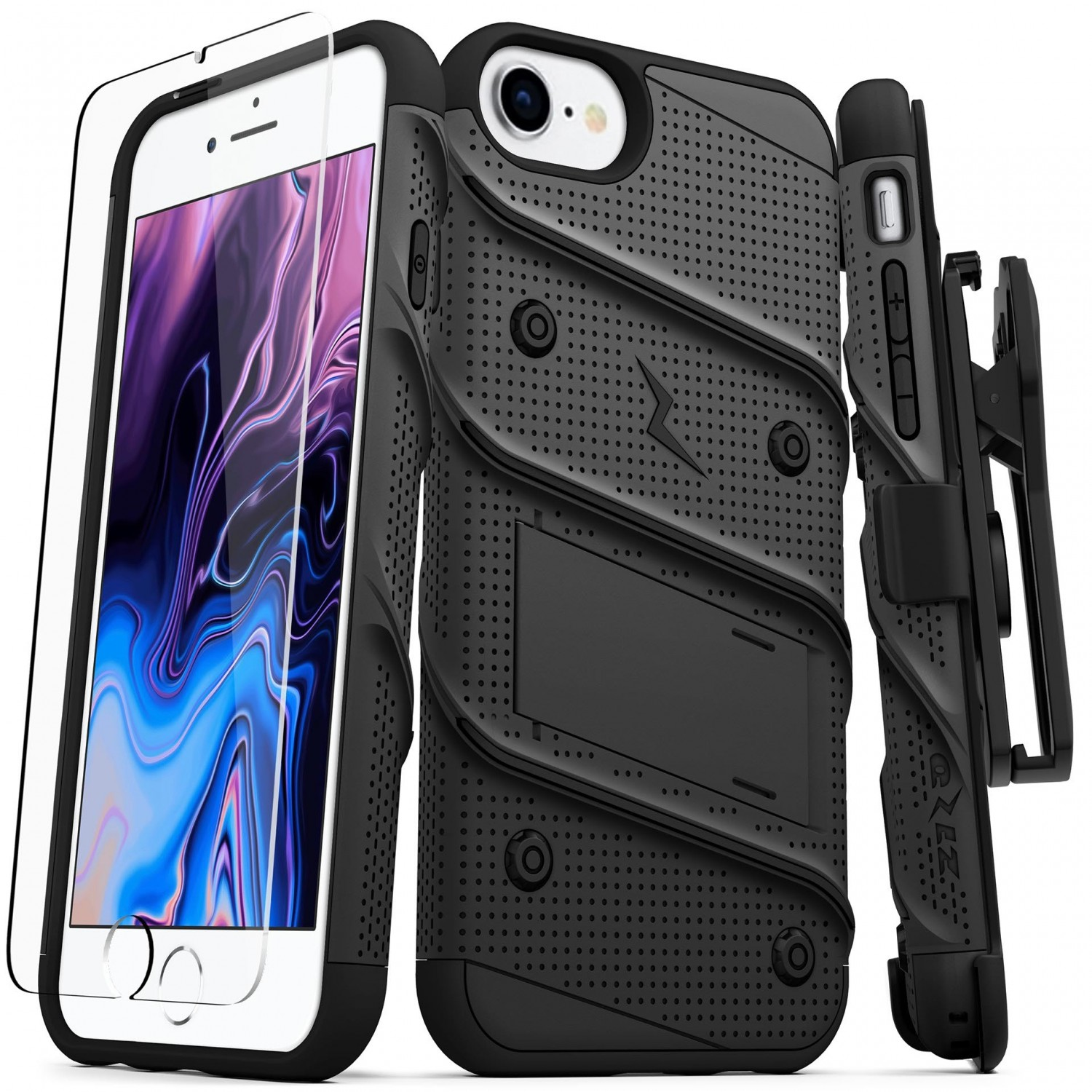 . Funda ZIZO Bolt iPhone SE2/8/7/6s/6 Negro/Negro