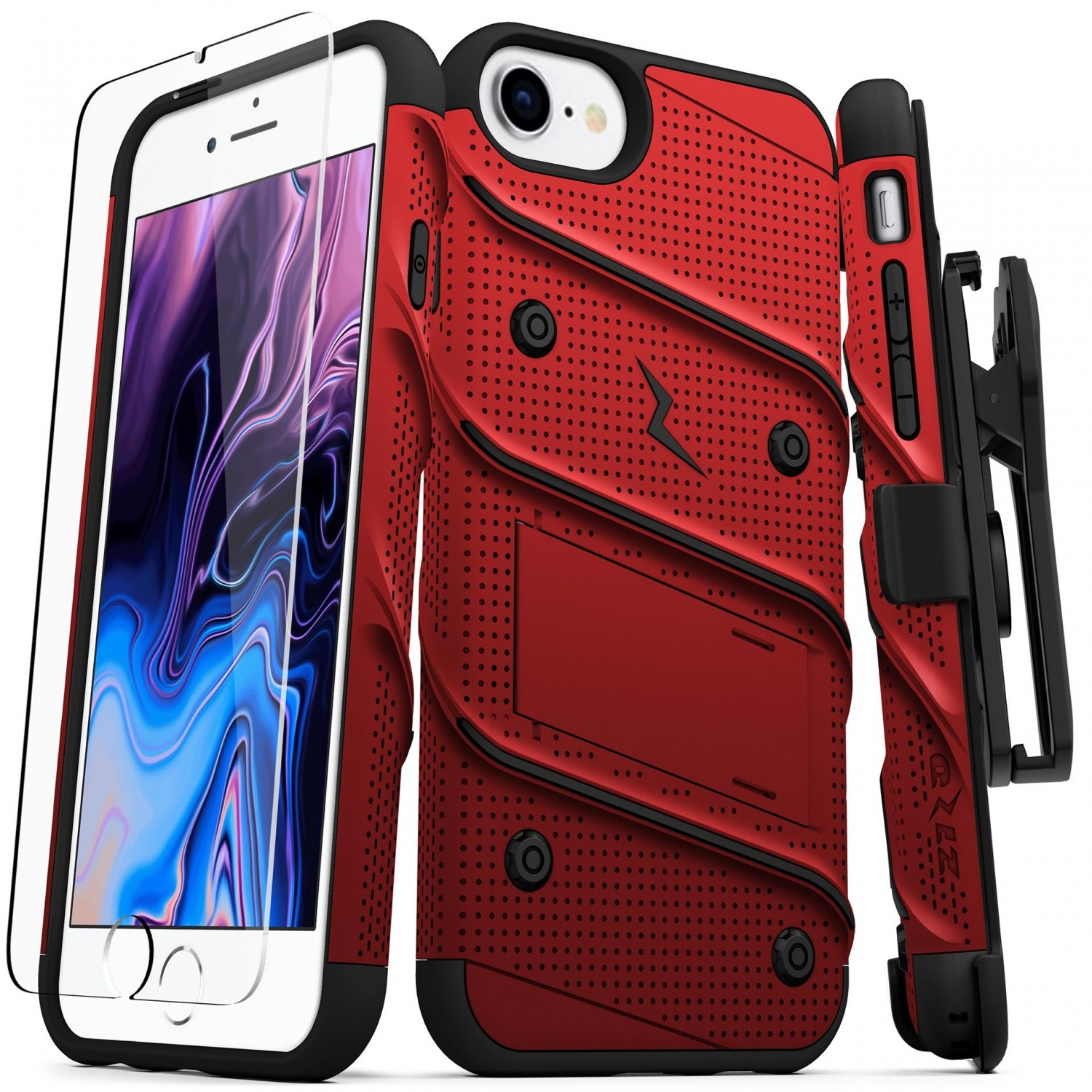 . Funda ZIZO Bolt iPhone SE2/8/7/6s/6 Rojo/Negro