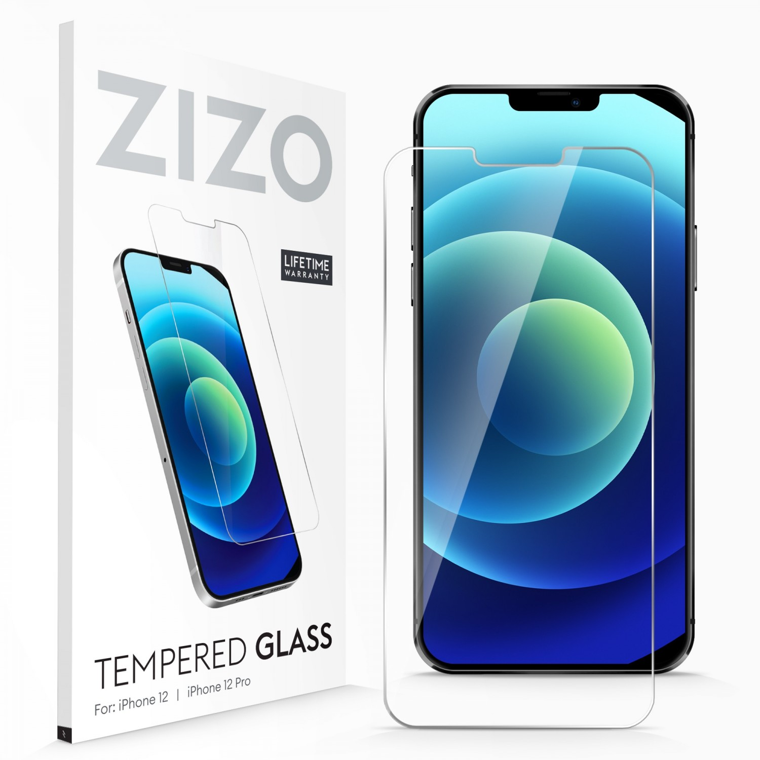 Screen Protector - ZIZO Tempered Glass for iPhone 12 & 12 PRO Clear