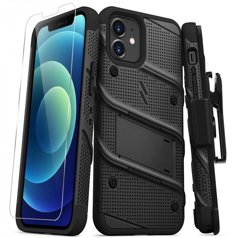 . Funda ZIZO Bolt para iPhone 12 y 12 PRO Negro Negro con clip y mica de pantalla