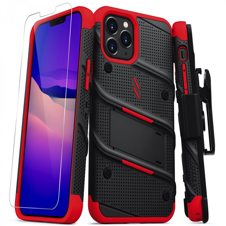 . Funda ZIZO Bolt compatible para iPhone 12 y 12 PRO Negro Rojo con clip y mica de pantalla