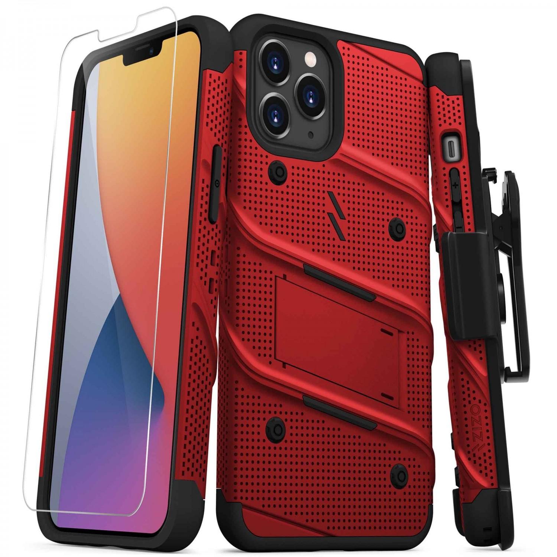 . Funda ZIZO Bolt para iPhone 12 PRO MAX Rojo Negro con clip y mica de pantalla