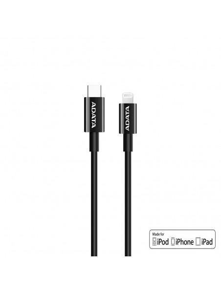 Cable Datos USB-C a Lightning PD ADATA Negro - iPhone iPod iPad certificado por Apple
