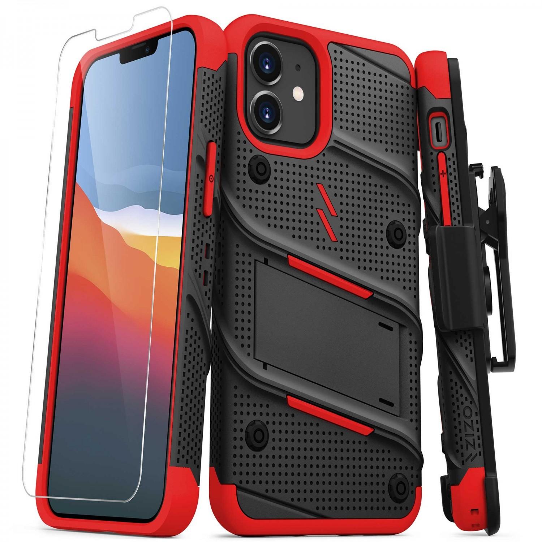 . Funda ZIZO Bolt compatible para iPhone 12 MINI Negro Rojo con clip y mica de pantalla