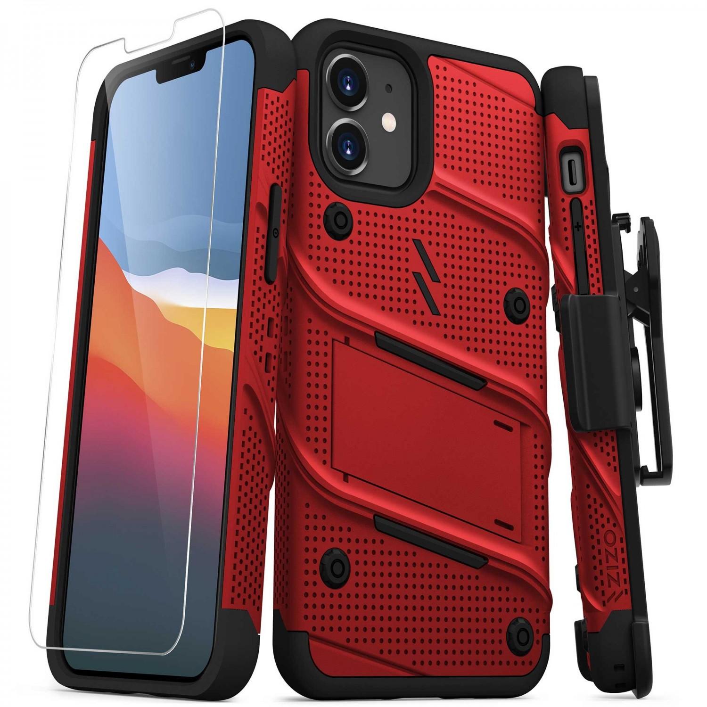 . Funda ZIZO Bolt compatible para iPhone 12 MINI Roja Negro con clip y mica de pantalla