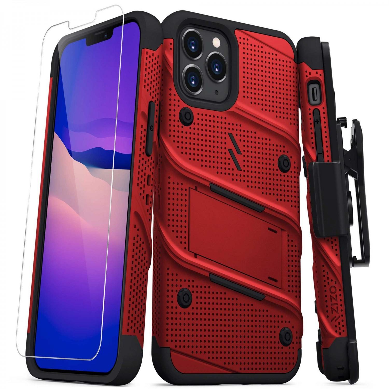 . Funda ZIZO Bolt compatible para iPhone 12 y 12 PRO Rojo Negro con clip y mica de pantalla
