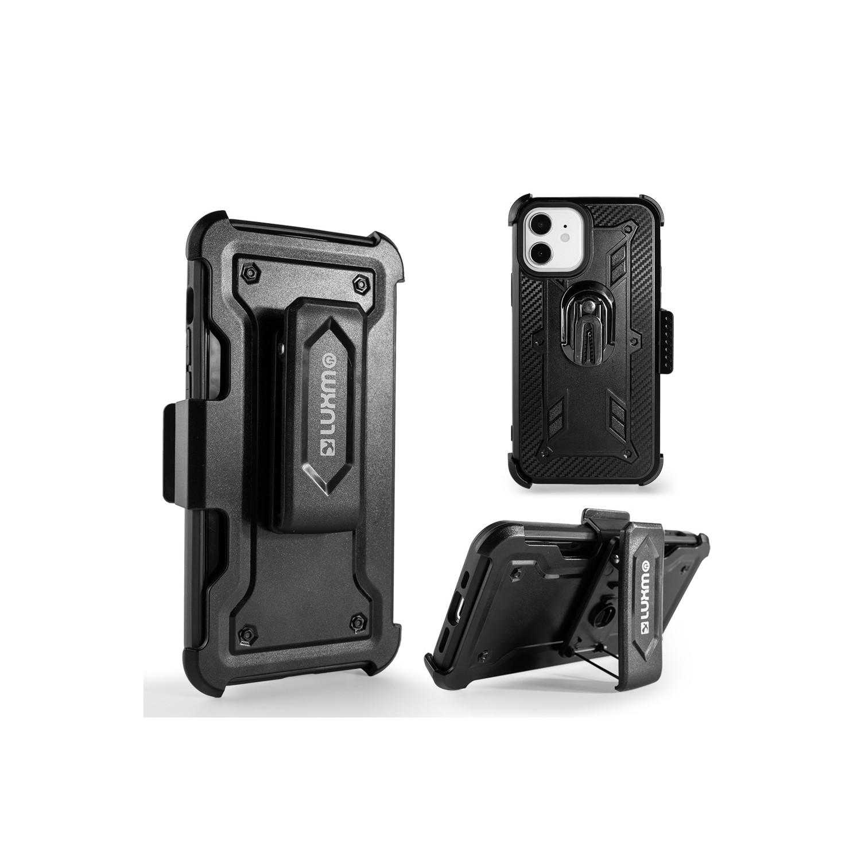 . Funda LUXMO combo holster 3en1 para iPhone 12 y 12 PRO acabado carbon neg