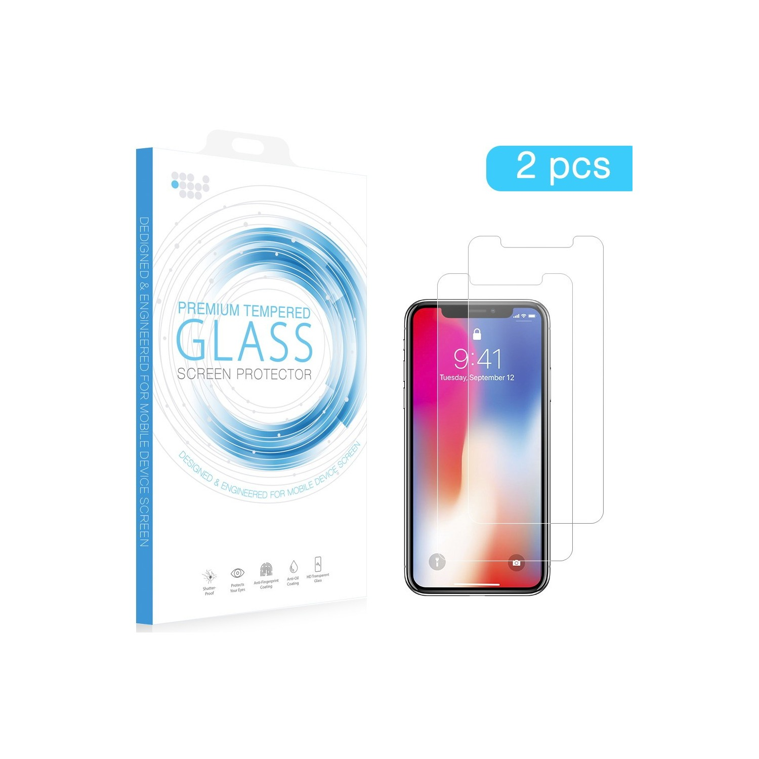 Screen Protector - DW Tempered Glass for iPhone 12 & 12 PRO (2 pc pack)