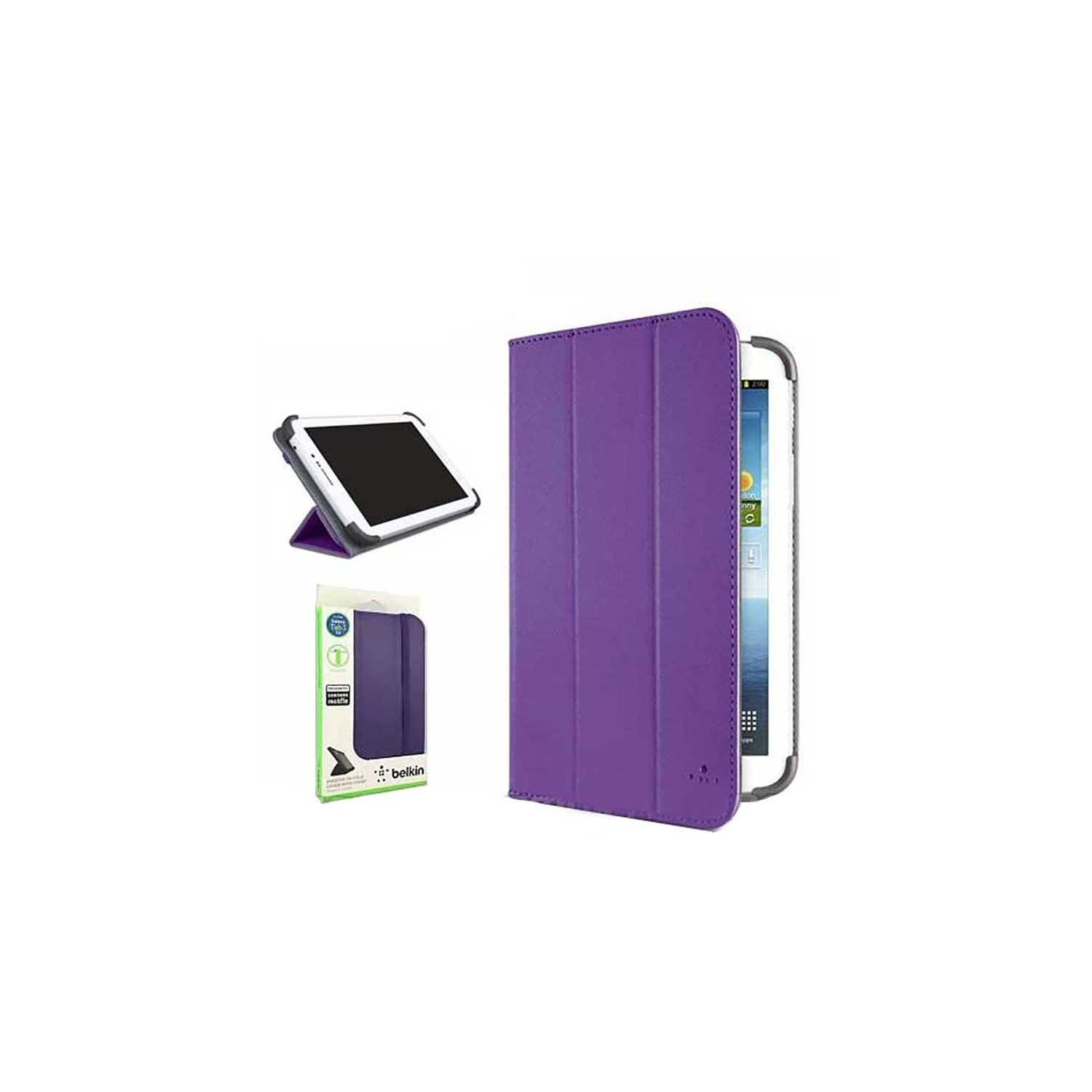 Case - Belkin Smooth Tri-Fold Cover with Stand for Samsung Galaxy Tab 3 7.0 - Purple