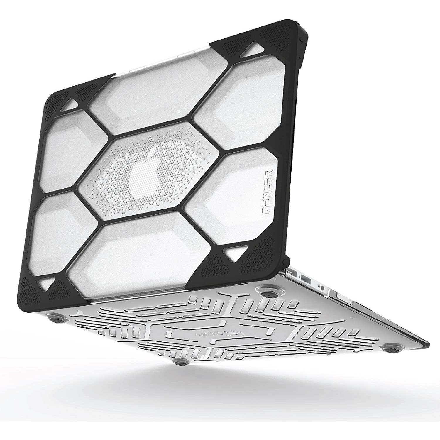 """Case - IBENZER HexPact Hard Case for MacBook Air 11"""" - Clear / Black"""