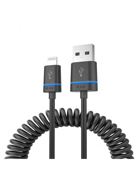 Cable Datos ILUV Lightning certificado por Apple para iPhone iPad ondulado NEGRO
