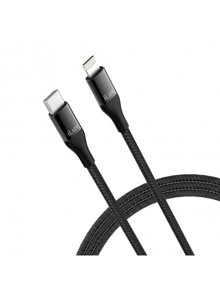 Cable Datos ILUV Lightning USB-C NEGRO 90cm universal Certificado MFI para iPhone iPad