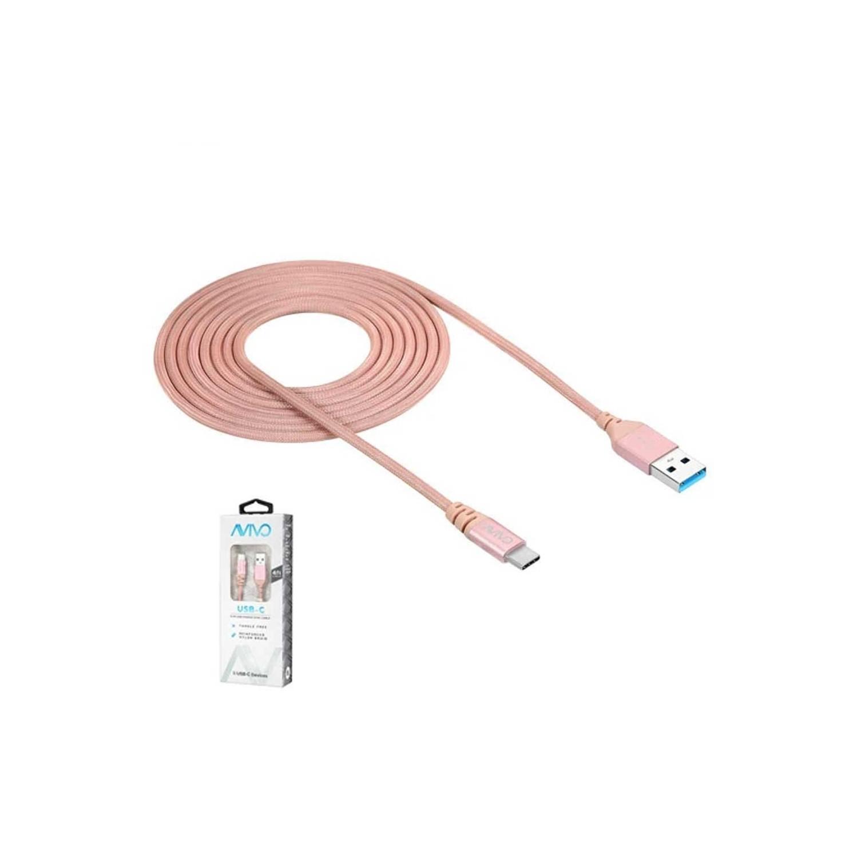 Cable Datos trenzado AVIVO USB-A a USB-C  Rosa 1.2m