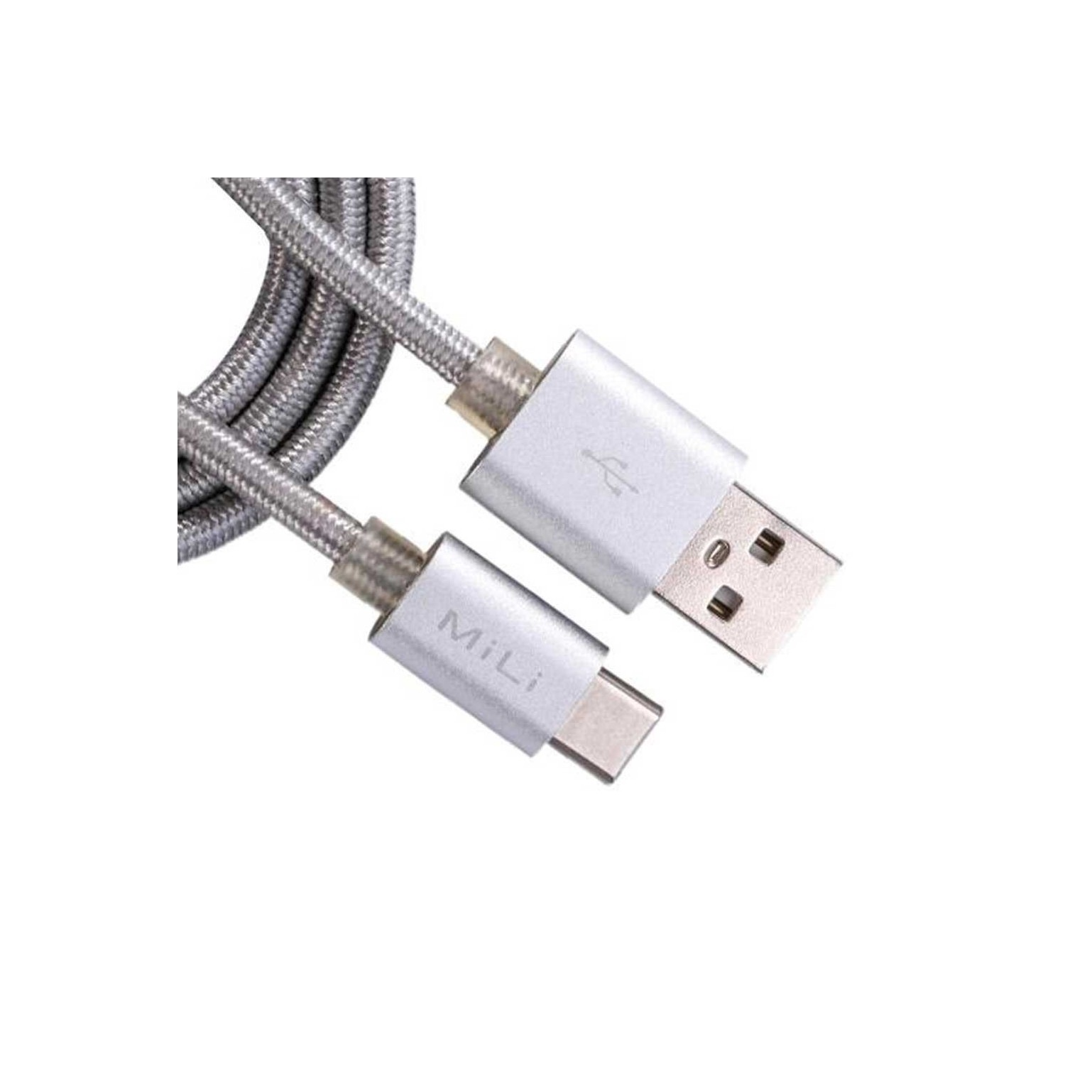 Cable Datos MILI Tipo C - Tejido Plata - 1m Universal