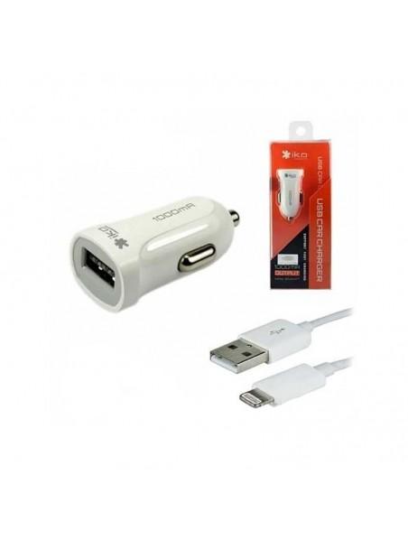 Cargador Auto Plug In Lightning 1A IKO iPhone  iPod
