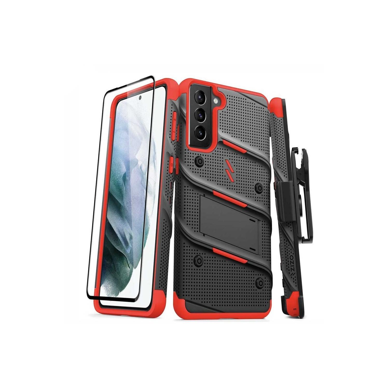 . Funda ZIZO Bolt SAMSUNG S21 PLUS Neg Rojo con clip giratorio y mica