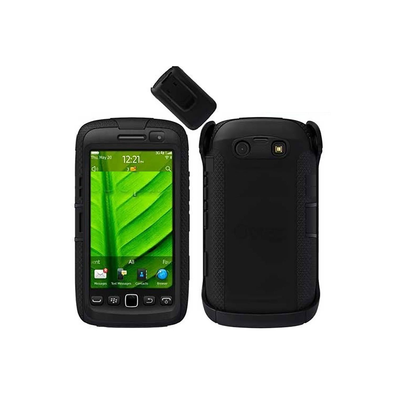 . Funda OTTERBOX Defender para Blackberry 9850 9860 Torch Negra Clip Giratorio estuche uso rudo
