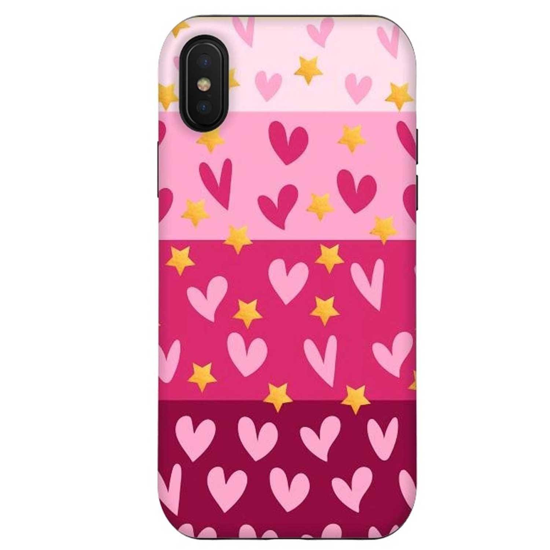 . Funda ARTSCASE StrongFit para iPhone X y Xs Corazones Rosass