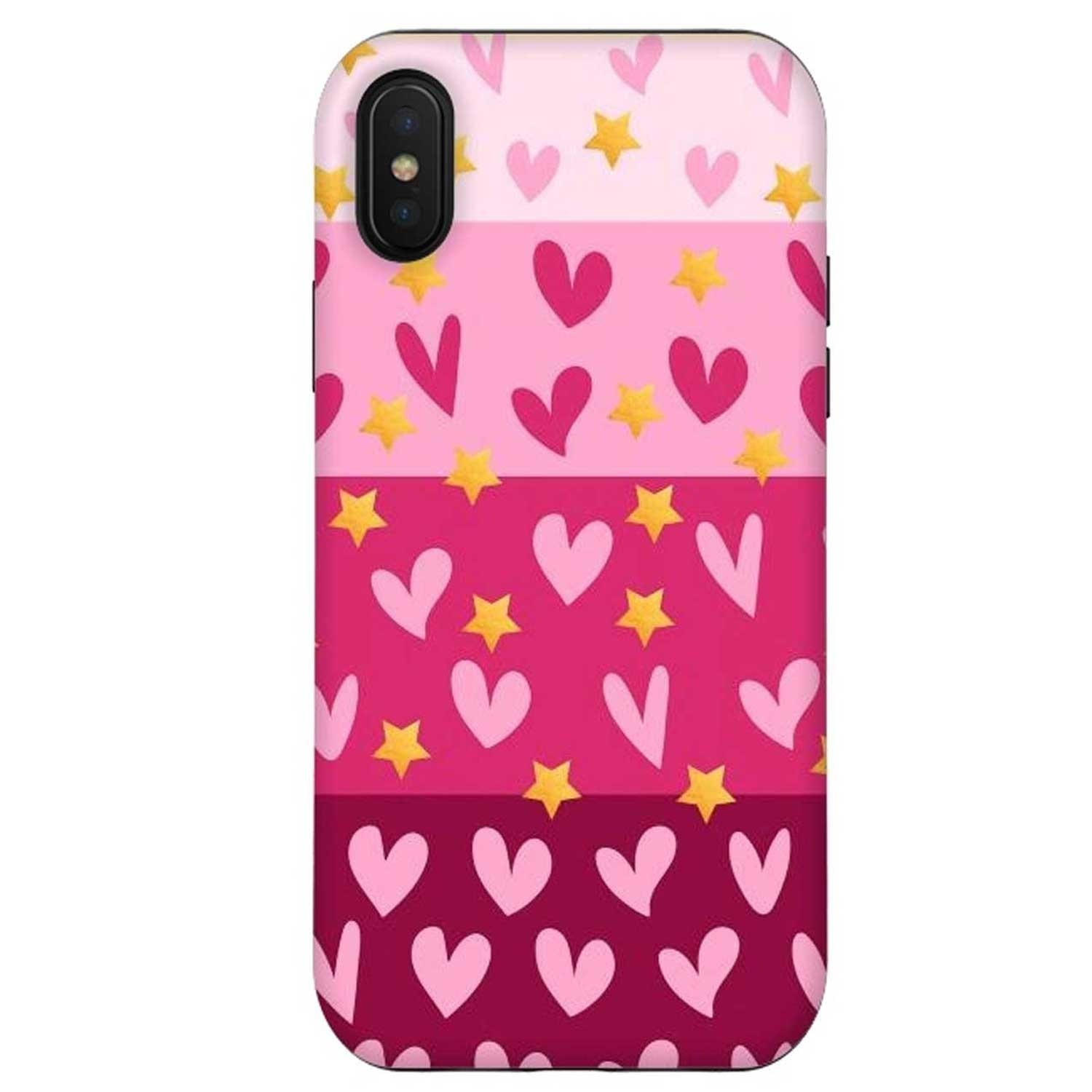 Case - ArtsCase StrongFit for iPhone Xs/X - Pink Hearts
