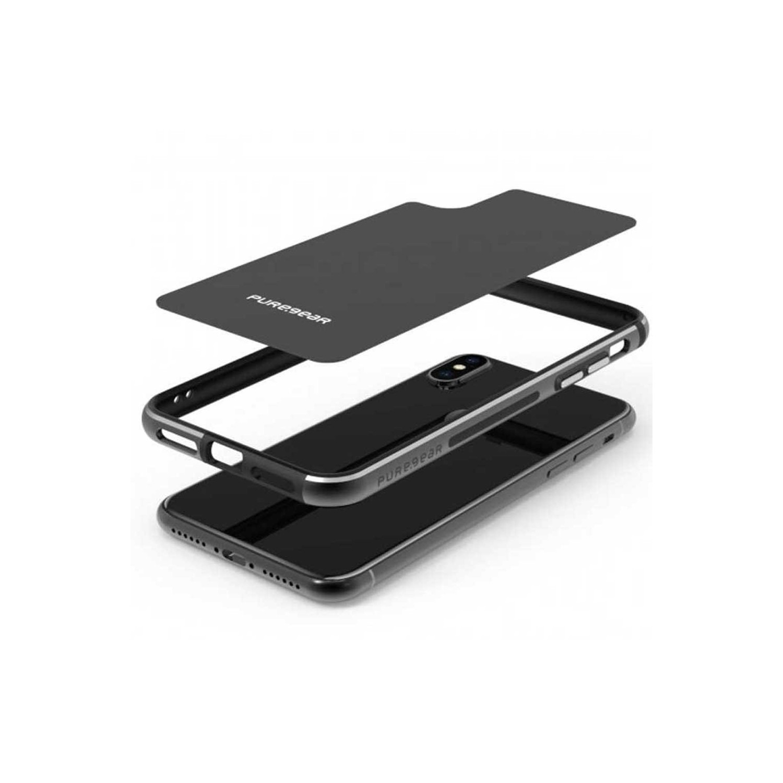 . Funda Bumper PUREGEAR GlassBak 360 para iPhone X y Xs Negra