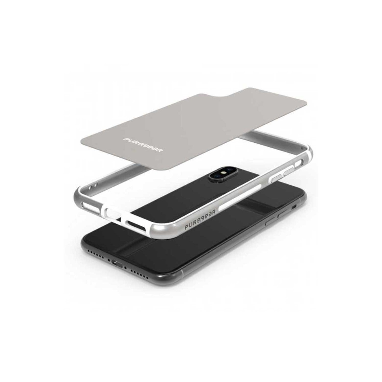 . Funda Bumper PUREGEAR GlassBak 360 para iPhone X y Xs Plata