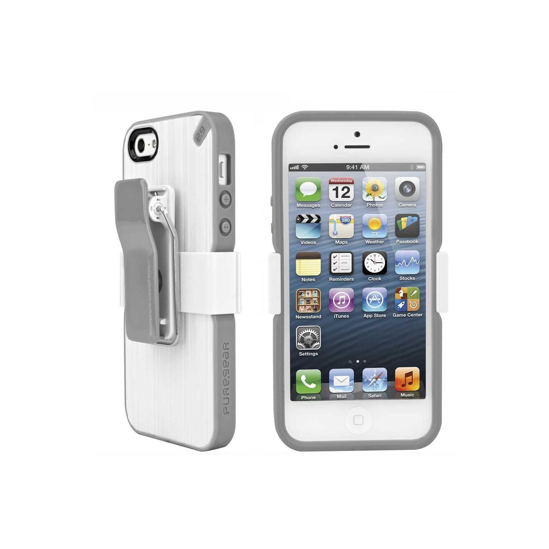 . Funda PUREGEAR Utilitarian Blanca para iPhone SE 2016 iPhone 5s y 5 con clip holster