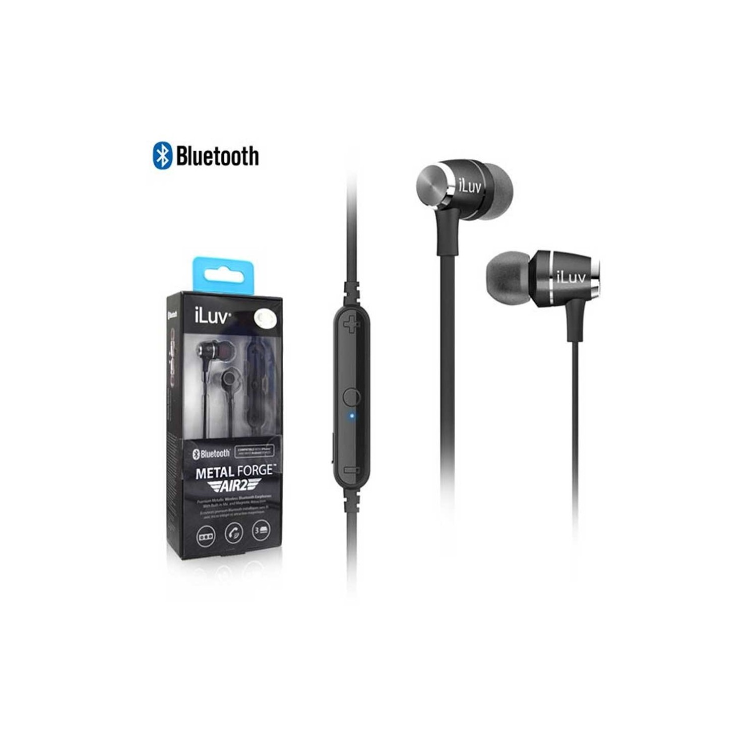 Manos Libres ILUV Bluetooth Universal Stereo Metal Forge Air2 Negro