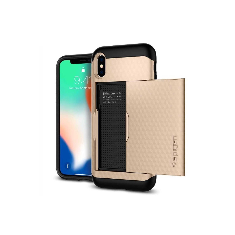. Funda SPIGEN para iPhone X y Xs Crystal Wallet Dorado