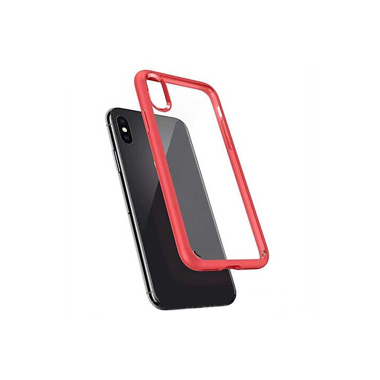 . Funda SPIGEN para iPhone X y Xs Ultra Hybrid Transparente Rojo