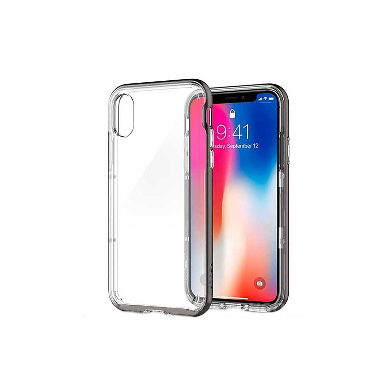 . Funda SPIGEN para iPhone X y Xs Neo Hybrid Gris Crystal Transp gunmetal