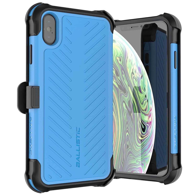 . Funda BALLISTIC TJ Maxx para iPhone X y Xs - Azul protector uso rudo con clip y mica