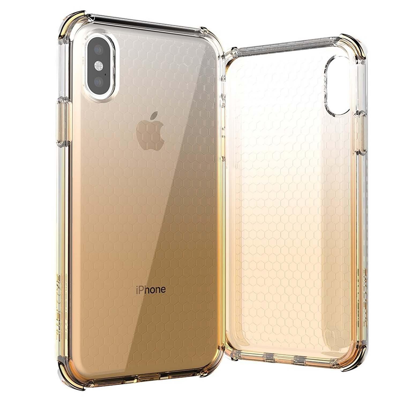 . Funda BALLISTIC Jewel para iPhone X y Xs Oro Tra protector uso rudo