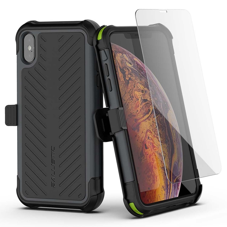 . Funda BALLISTIC TJ Maxx para iPhone X y Xs - Negro protector uso rudo con clip y mica