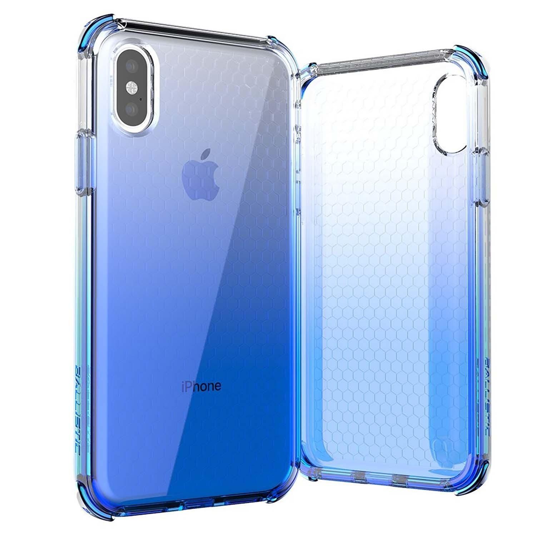 . Funda BALLISTIC Jewel para iPhone X y Xs Azul Transp protector uso rudo