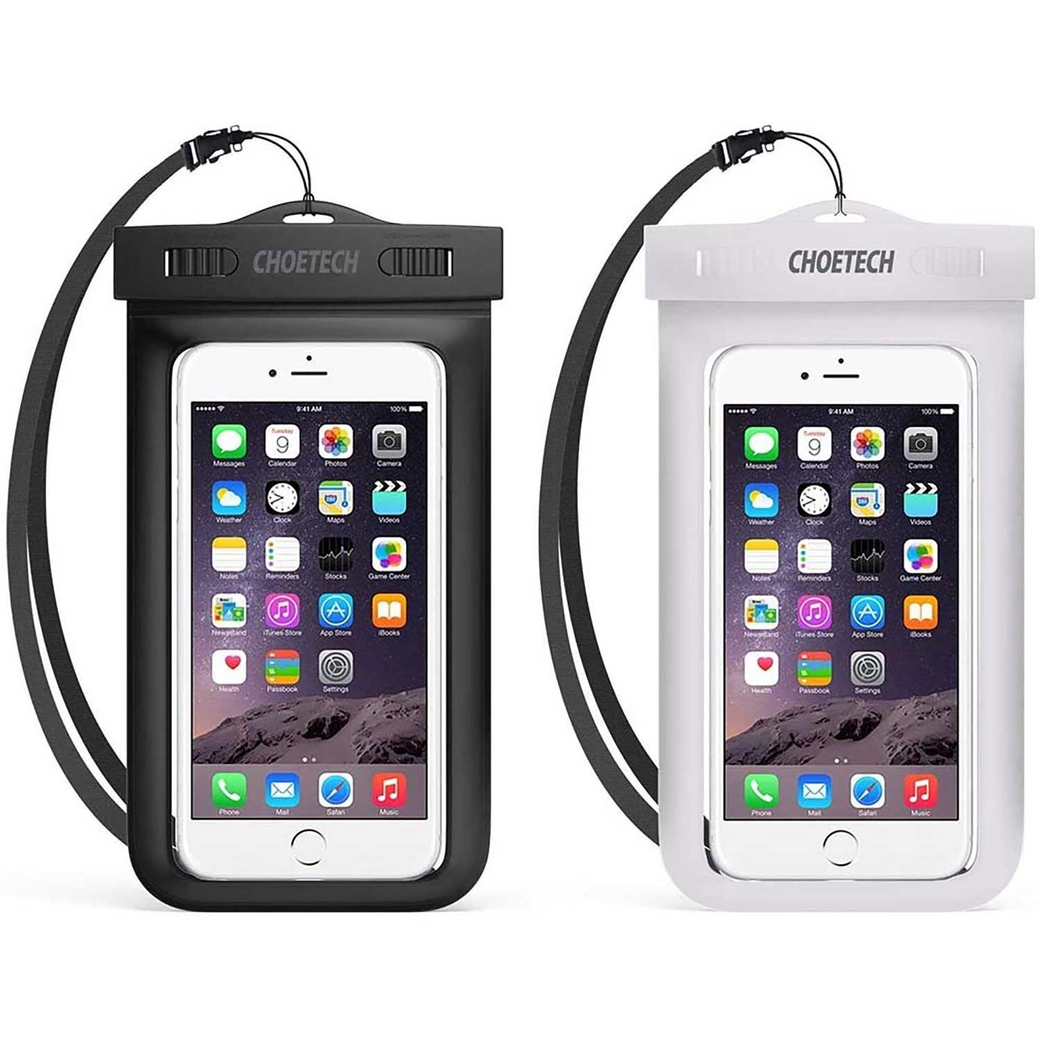 Case - CHOETECH 2 Pack Waterproof Case Universal White and Black