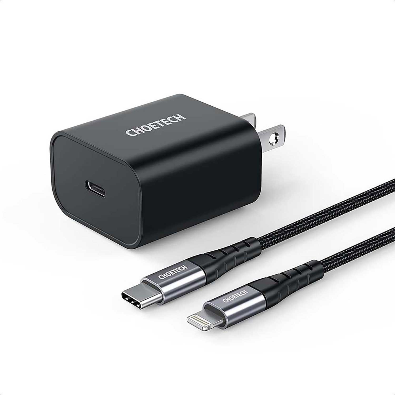 Cargador AC CHOETECH USB-C PD 18W para iPhone iPad Negro cable certificado incluido