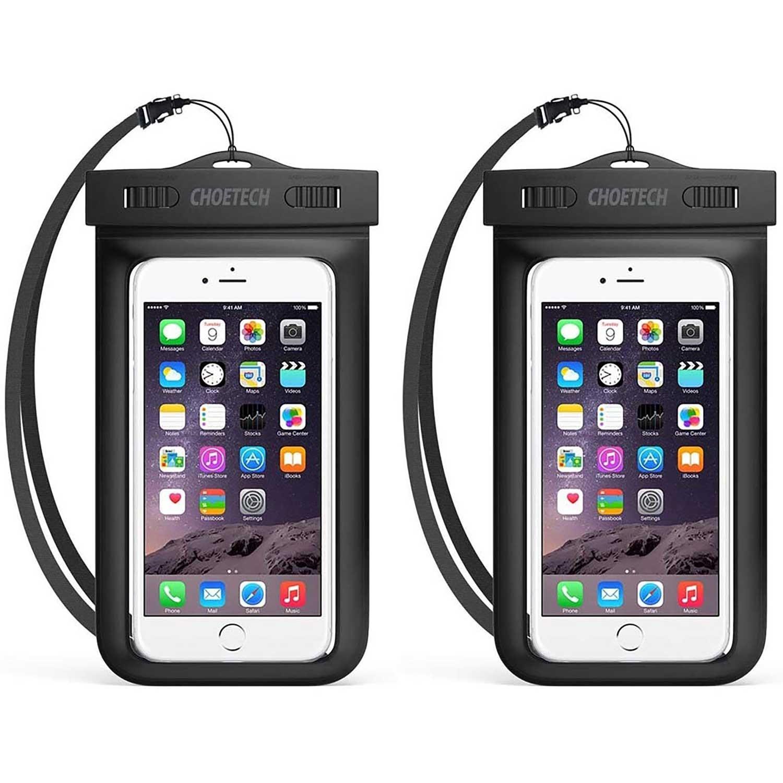 Case - CHOETECH 2 Pack Waterproof Case Universal Black