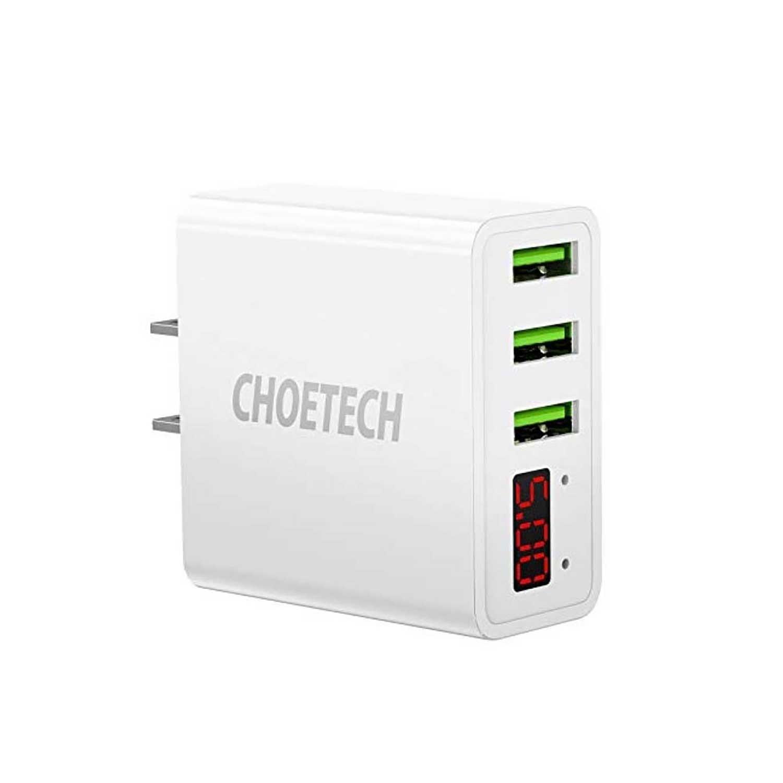 Cargador AC CHOETECH 3 x USB-A 3Amp Universal (SIN CABLE) Blanco