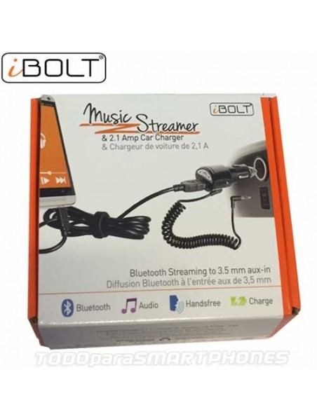Charger and Streamer iBolt Charge & Play USB charger w/ Bluetooth Audio to 3.5mm Aux-In